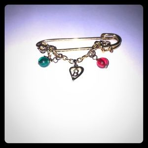 GOLD TONE SAFETY PIN Christmas Charms